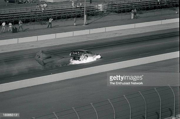 Sequence of Roland Leong's Hawaiian Dodge Charger Funny Car crossing the finish line at over 200mph and bursting into flames Driver Denny Petersavage...