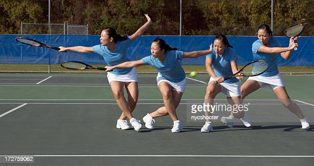 sequence of tennis backhand approach slice - taking a shot sport stock pictures, royalty-free photos & images