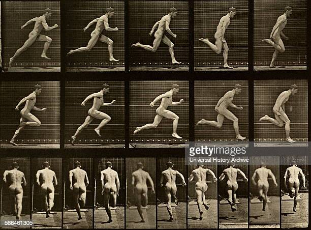 Sequence photography of a man running by Eadweard James Muybridge English photographer important for his pioneering work in photographic studies of...