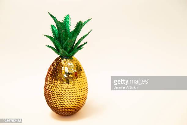sequin pineapple - single object stock pictures, royalty-free photos & images