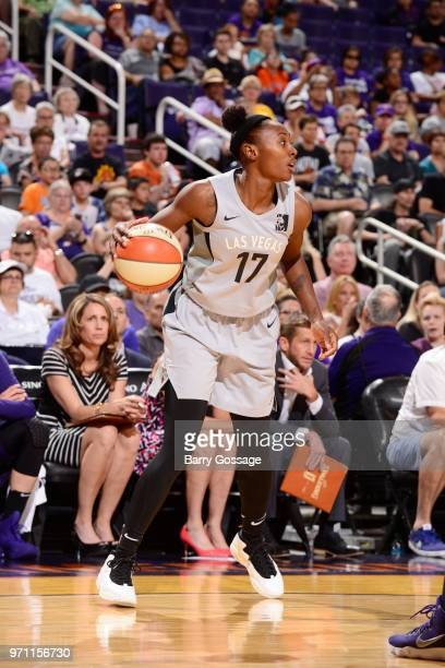 Sequoia Holmes of the Las Vegas Aces handles the ball against the Phoenix Mercury on June 10 2018 at Talking Stick Resort Arena in Phoenix Arizona...