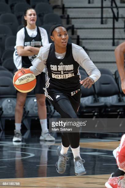 Sequoia Holmes of the San Antonio Stars handles the ball during practice on May 10 at the ATT Center in San Antonio Texas NOTE TO USER User expressly...