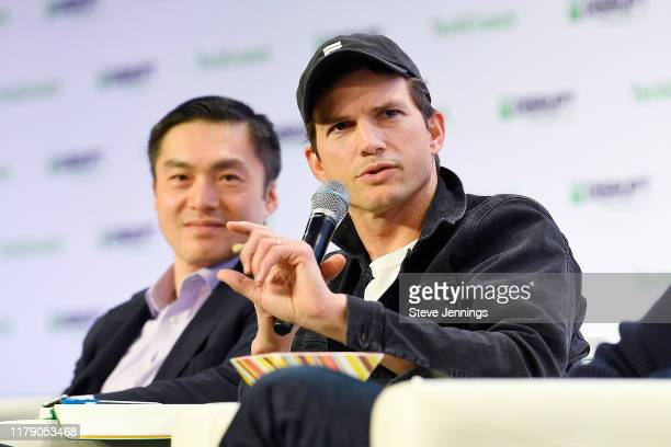 Sequoia Partner Capital Alfred Lin and Sound Ventures Co-Founder Ashton Kutcher speak onstage during TechCrunch Disrupt San Francisco 2019 at Moscone...