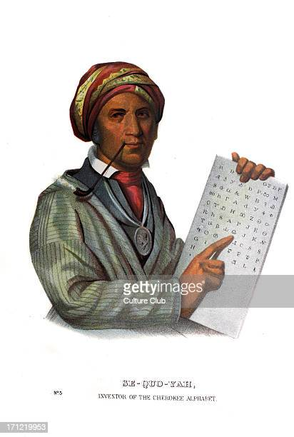 Sequoyah or George Guess inventor of the Cherokee alphabet Native American of the Cherokee c1767–1843 Portrait by Charles B King