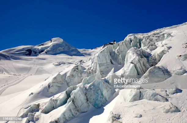 Seracs ice towers on the glacier Feegletscher peak Allalinhorn behind SaasFee Valais Switzerland