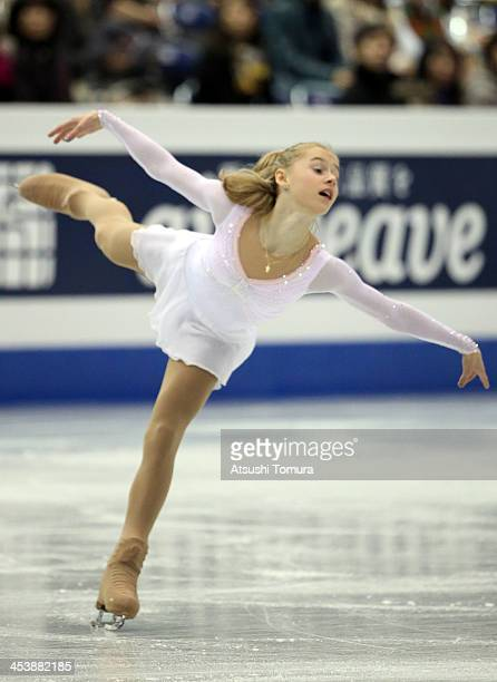 Serafima Sakhanovich of Russia compete in the Junior ladies's free program during day two of the ISU Grand Prix of Figure Skating Final 2013/2014 at...