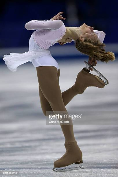 Serafima Sakhanovich of Russia competes in the Junior Ladies Free Skating during day two of the ISU Grand Prix of Figure Skating Final 2013/2014 at...