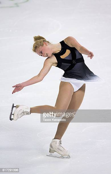 Serafima Sakhanovich of Russia competes in the ladies free skate at 2016 Progressive Skate America at Sears Centre Arena on October 22 2016 in...