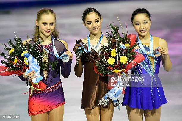 Serafima Sakhanovich of Russia Evgenia Medvedeva of Russia and Wakaba Higuchi of Japan pose during the medals ceremony during day two of the ISU...