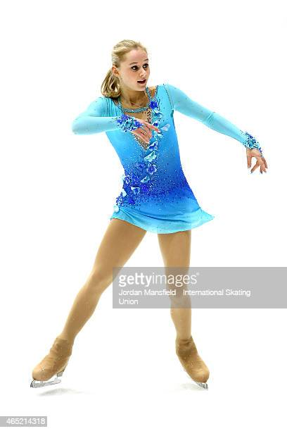 Serafima Sakhanovich of Russia performs during the Women's Short Program on Day 1 of the ISU World Junior Figure Skating Championships at Tondiraba...