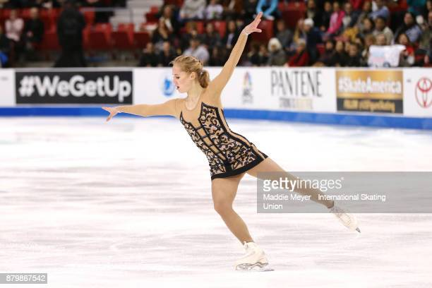 Serafima Sakhanovich of Russia performs in the Ladies Free Dance program on Day 3 of the ISU Grand Prix of Figure Skating at Herb Brooks Arena on...