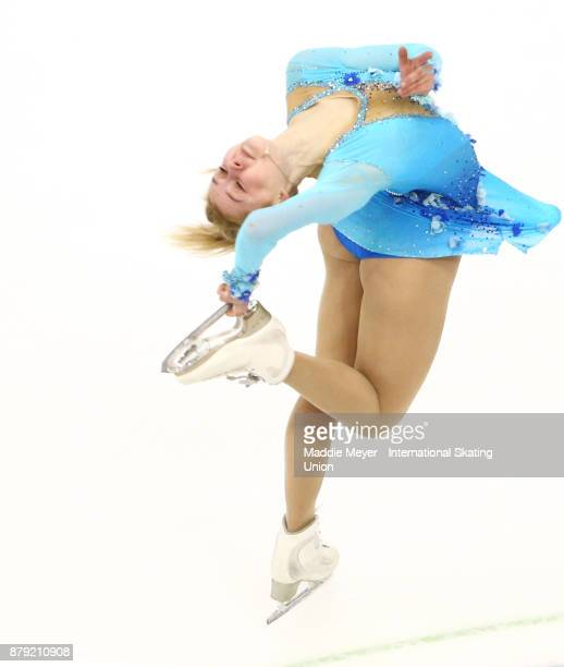 Serafima Sakhanovich of Russia performs in the Ladies short program on Day 2 of the ISU Grand Prix of Figure Skating at Herb Brooks Arena on November...