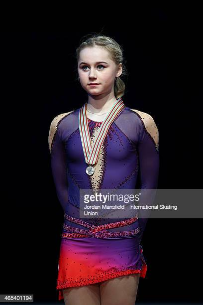 Serafima Sakhanovich of Russia stands on the podium after coming second in the Junior Women's Competition on Day 3 of the ISU World Junior Figure...
