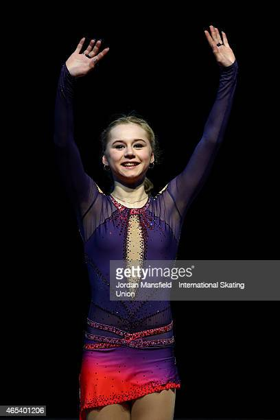 Serafima Sakhanovich of Russia waves to the crowd after coming second in the Junior Women's Competition on Day 3 of the ISU World Junior Figure...