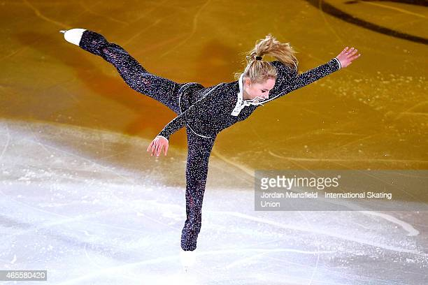 Serafima Sakhanovich of Ukraine performs during the Gala Exhibition on Day 5 of the ISU World Junior Figure Skating Championships at Tondiraba Ice...
