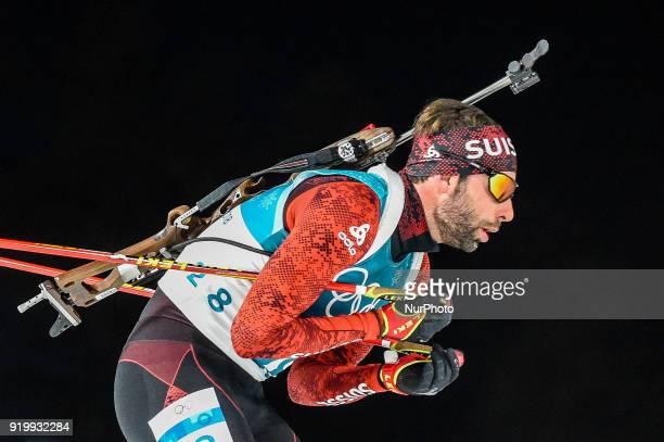 Serafin Wiestner of Switzerland competing in 15 km mass start biathlon at Alpensia Biathlon Centre Pyeongchang South Korea on February 18 2018