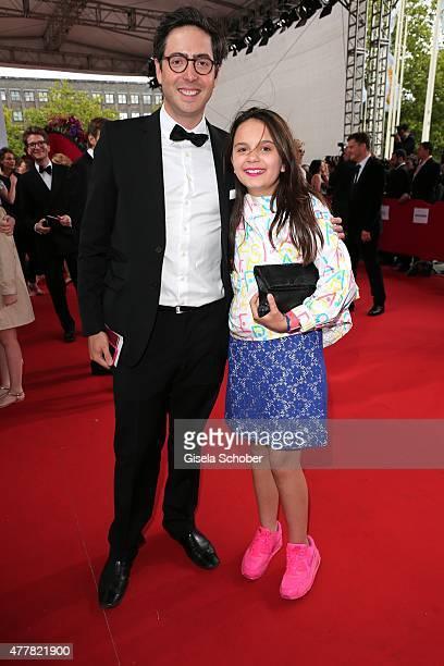 Serafina Dietl and her half brother David Dietl - children of Helmut Dietl - arrive for the German Film Award 2015 Lola at Messe Berlin on June 19,...