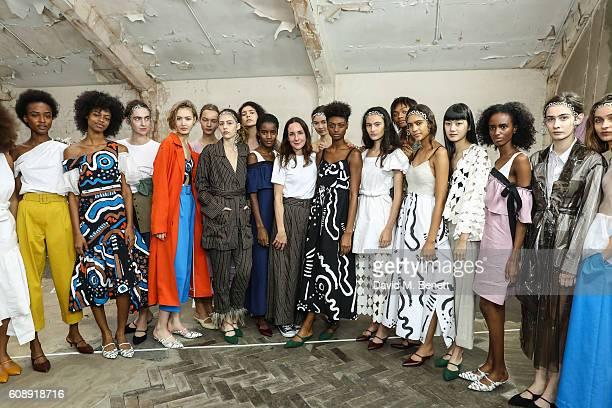 Serafina Sama and models showcase designs at the Isa Arfen presentation during London Fashion Week Spring/Summer collections 2017 on September 20...