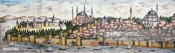 Seraglio Point Topkapi Palace Hagia Sophia Blue Mosque and the walls of Istanbul Ottoman miniature Turkey late 17th century Istanbul Istanbul...
