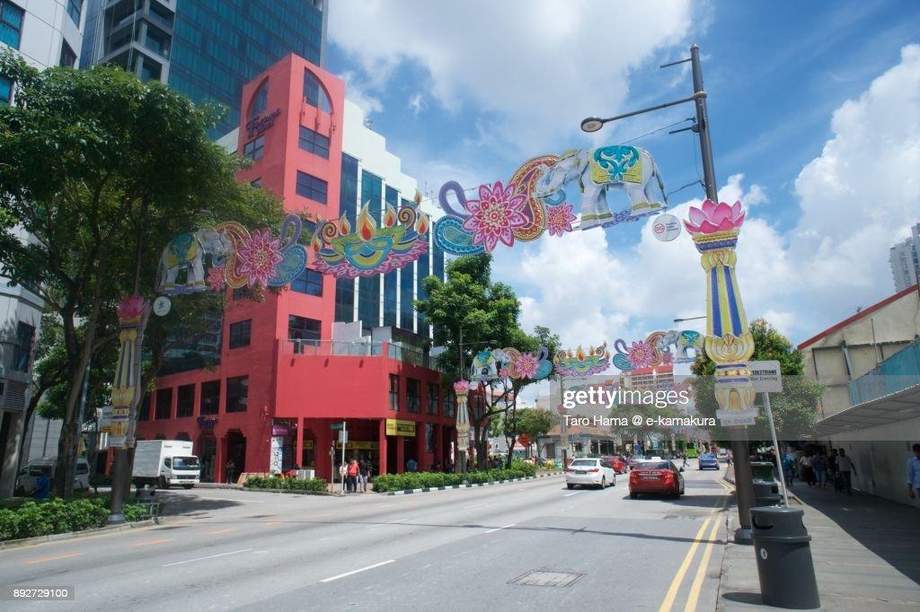 Serangoon Road in Little India in Singapore : Stock-Foto