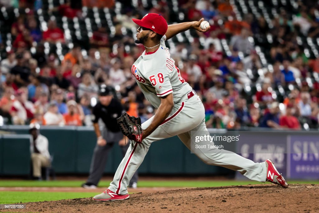 Seranthony Dominguez #58 of the Philadelphia Phillies closes out the ninth inning against the Baltimore Orioles at Oriole Park at Camden Yards on July 12, 2018 in Baltimore, Maryland. Phillies won 5 - 4.