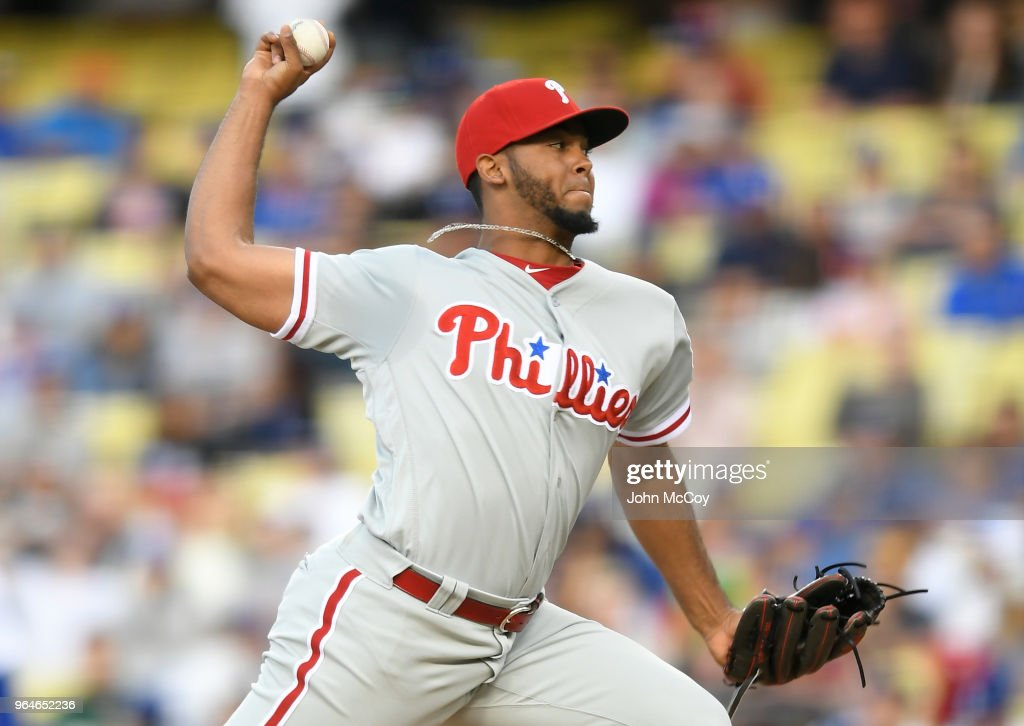 Seranthony Dominguez #58 of the Philadelphia Phillies pitches in the ninth inning in a 2-1 win over the Los Angeles Dodgers at Dodger Stadium on May 31, 2018 in Los Angeles, California.