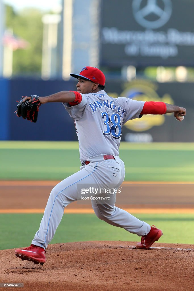 Seranthony Dominguez of the Threshers delivers a pitch to the plate during the Florida State League game between the Threshers and the Yankees on April 25, 2017, at Steinbrenner Field in Tampa, FL.