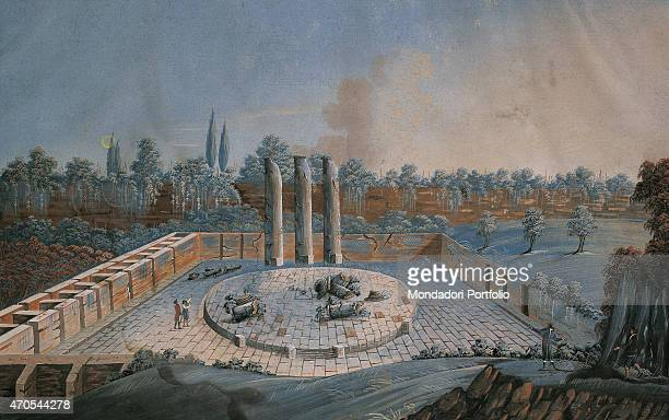 'Serapeum by unknown artist 18th Century oil on canvas 27 x 435 cm Private collection Whole artwork view Nocturnal view of te ruins of a serapeum a...