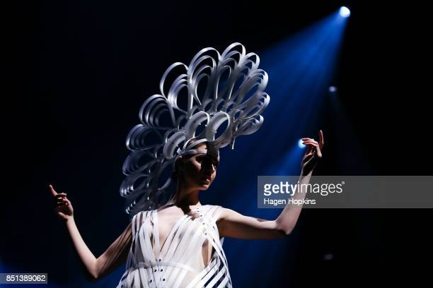 'Seraph' by Amelia Taverner and Eleanor Beeden of New Zealand is modelled in the Avantgarde Section during the World of WearableArt Awards 2017 at...