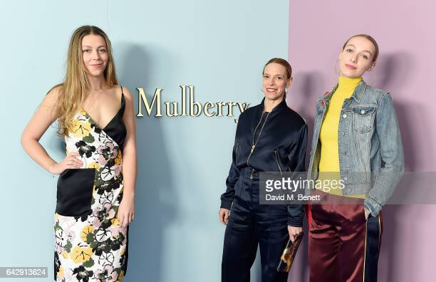 Seraphine Chapman De Lussy Tiphaine De Lussy and Agathe de Lussy Chapman attend the Mulberry Winter '17 LFW show at The Old Billingsgate on February...