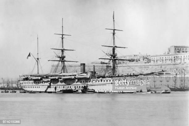 HMS Serapis a Euphratesclass troopship at anchor in Valetta Harbour circa 1875 at Valetta Malta