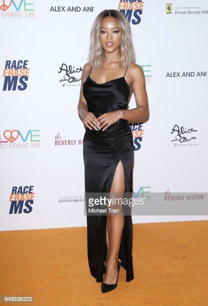 Serayah arrives to the 25th Annual Race To Erase MS Gala held at The Beverly Hilton Hotel on April 20 2018 in Beverly Hills California