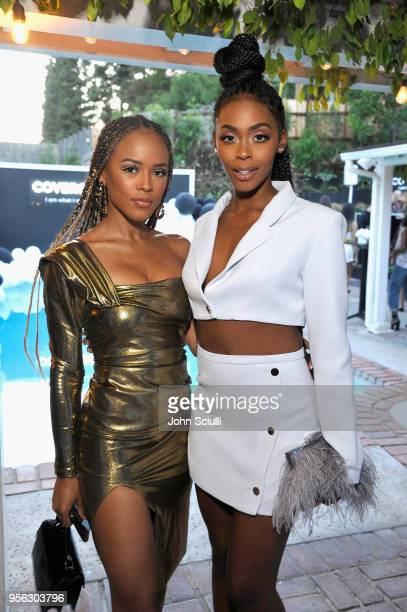 Serayah McNeill and Nafessa Williams attend a COVERGIRL sneak peek to their Fall 2018 Makeup line with COVERGIRL'S SVP Ukonwa Ojo on May 8 2018 in...