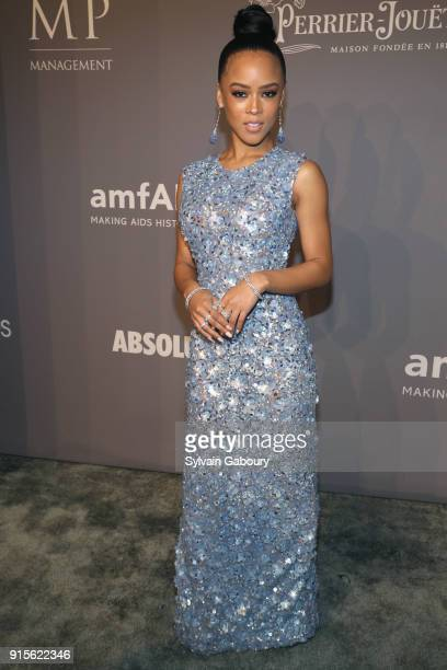 Serayah McNeill attends 2018 amfAR Gala New York Arrivals at Cipriani Wall Street on February 7 2018 in New York City