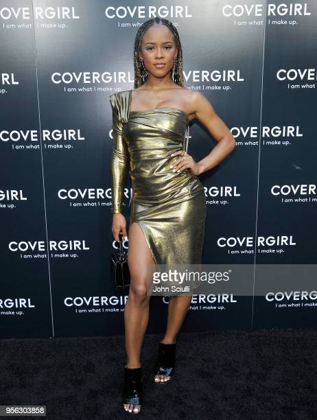 Serayah McNeill attends a COVERGIRL sneak peek to their Fall 2018 Makeup line with COVERGIRL'S SVP Ukonwa Ojo on May 8 2018 in Los Angeles California