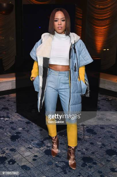 Serayah McNeill attends the Stuart Weitzman FW18 Presentation and Cocktail Party at The Pool on February 8, 2018 in New York City.