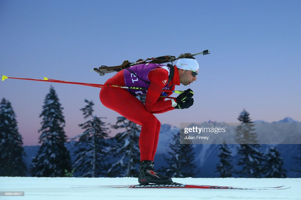 Serayin Wiesker of Switzerland practices ahead of the Sochi 2014 Winter Olympics at the Laura Cross-Country Ski and Biathlon Center on February 5, 2014 in Sochi, Russia.
