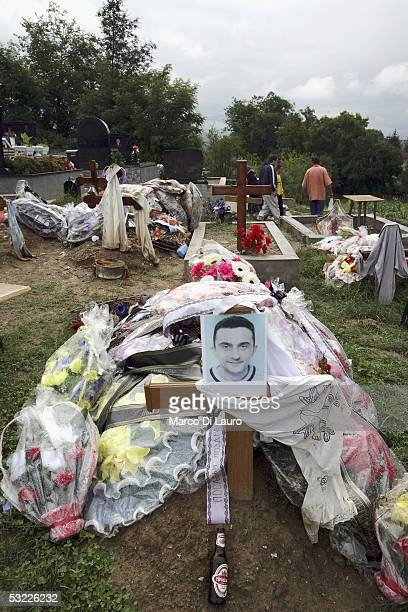 A serb grave of a victim who died in the Bosnia war is seen on July 12 2005 in Bratunac 8km from Srebrenica BosniaHerzegovina Serbs commemorate their...