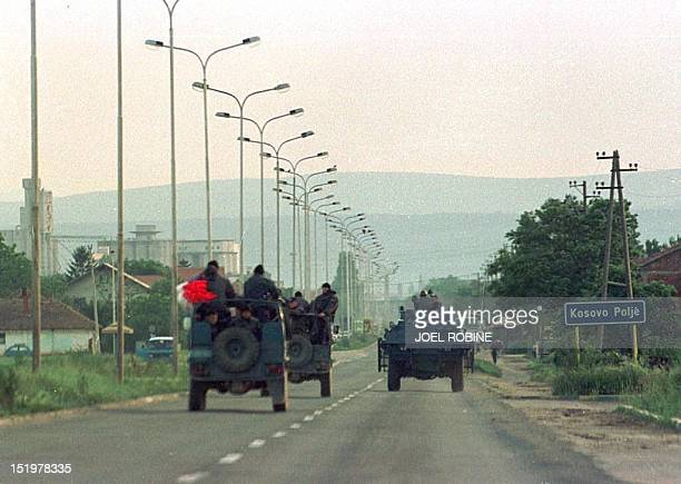 Serb police special forces head for Pec 02 June where fighting is going on between Albanian seperatists and Serb security forces Aid organisations...