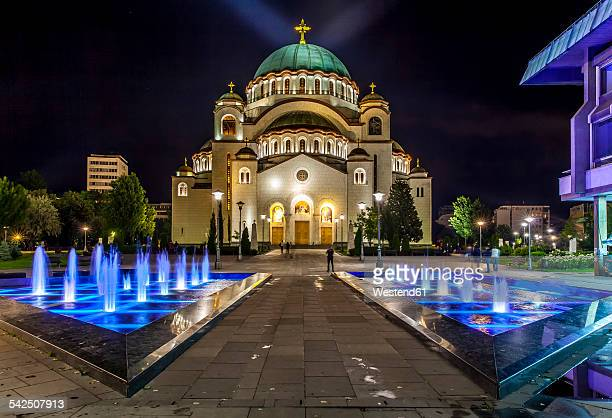 serbia, belgrade, beograd, church of saint sava at night - belgrade serbia stock pictures, royalty-free photos & images