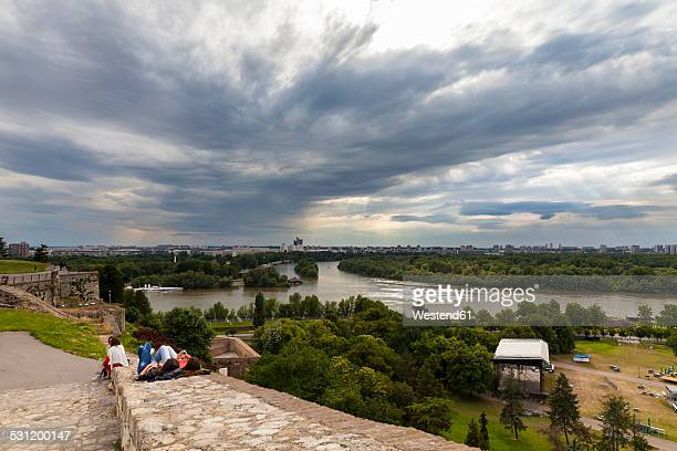 serbia, belgrade, new belgrade, view from belgrade fortress, river delta of sava and danube river - serbia stock photos and pictures