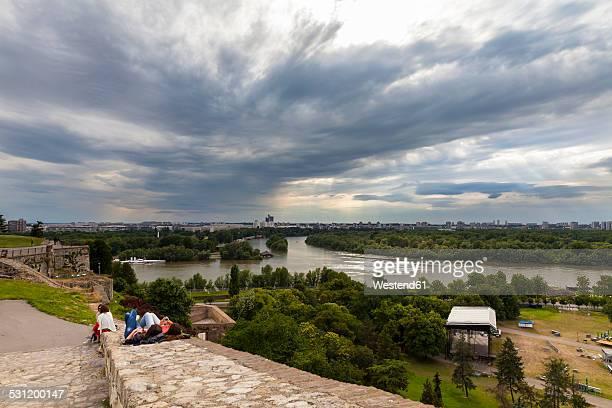 serbia, belgrade, new belgrade, view from belgrade fortress, river delta of sava and danube river - belgrade serbia stock photos and pictures