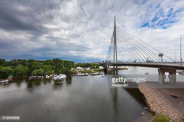 serbia, belgrade, novi beograd, sava bridge, ada ciganlija - belgrade stock pictures, royalty-free photos & images