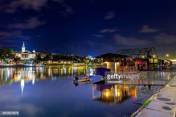 serbia, belgrade, novi beograd, savski venac, sava river, party ship and restaurant at riverside - belgrade stock pictures, royalty-free photos & images