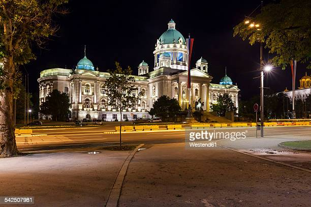 Serbia, Belgrade, Savski Venac, Parliament Building at night