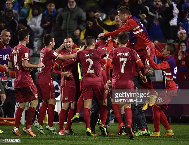 Serbia celebrate a goal during the FIFA Under20 World Cup football final match between Brazil and Serbia at North Harbour Stadium in Auckland on June...