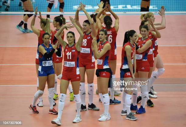 Serbia celebrate after defeating Germany in the Pool E match on day two of the FIVB Women's World Championship second round at Nippon Gaishi Hall on...