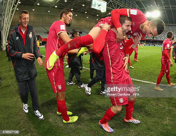 Serbia celebrate after they defeated Hungary in extra time during the FIFA U20 World Cup New Zealand 2015 Round of 16 match between Serbia and...