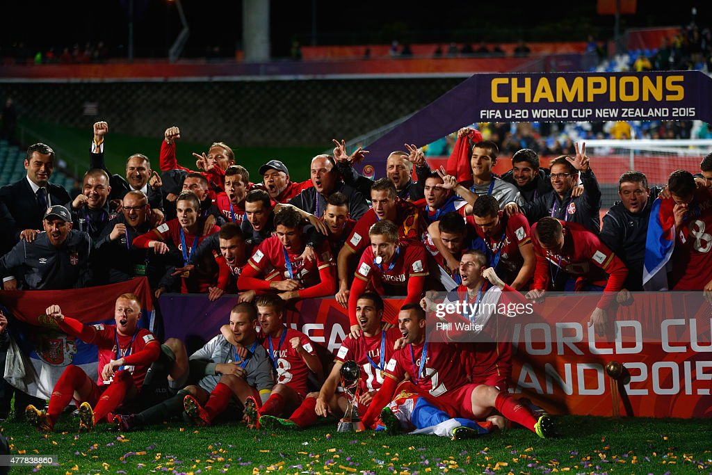 Serbia celebrate with the FIFA U20 trophy following the FIFA U-20 World Cup Final match between Brazil and Serbia at North Harbour Stadium on June 20, 2015 in Auckland, New Zealand.