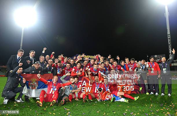 Serbia celebrate with the trophy after the FIFA U20 World Cup Final match between Brazil and Serbia at North Harbour Stadium on June 20 2015 in...